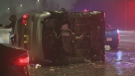 Icy roads lead to 5 car crash