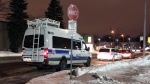 Montreal police investigated after a pickup truck driver turning a corner ran down a pedestrian on Feb. 20, 2019.