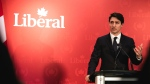 Prime Minister Justin Trudeau delivers remarks to Liberal supporters in Halifax on Wednesday February 20, 2019. Trudeau visited friendly Nova Scotia territory on Wednesday evening to thank fundraisers and recall happier times, as controversies rage in Ottawa. THE CANADIAN PRESS/Riley Smith