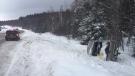 Single pickup truck rollover on Highway 17 (OPP North Bay/Twitter)
