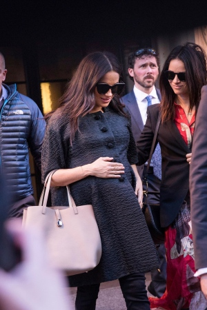 Meghan, Duchess of Sussex, arrives for her baby shower at the Mark Hotel on Tuesday, Feb. 19, 2019, in New York. (AP Photo/Kevin Hagen)