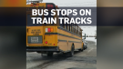 School bus stops on tracks ahead of oncoming train