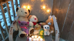 Across Canada and even around the world, people have been placing stuffed animals and teddy bears on their doorsteps and window sills to honour the seven children killed in the Halifax house fire. (@girrl_friday / Twitter)