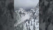 The search area on Runner Peak on Vancouver's North Shore is shown in a handout photo from North Shore Rescue.