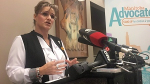 Manitoba Advocate For Children And Youth Daphne Penrose addresses a news conference in Winnipeg, Friday, Oct.19, 2018. (THE CANADIAN PRESS/Steve Lambert)
