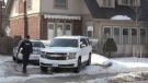 Police investigate after an armed robbery in the Wortley Village area of London, Ont. on Thursday, Feb. 21, 2019. (Jim Knight / CTV London)