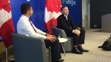 Finance Minister Bill Morneau answers students questions at Georgian College in Barrie on Thurs. Feb. 21, 2019 (CTV News/Steve Mansbridge)
