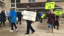Residents in Wasaga Beach protest outside city council on Thurs., Feb. 21, 2019 (CTV News/Aileen Doyle)