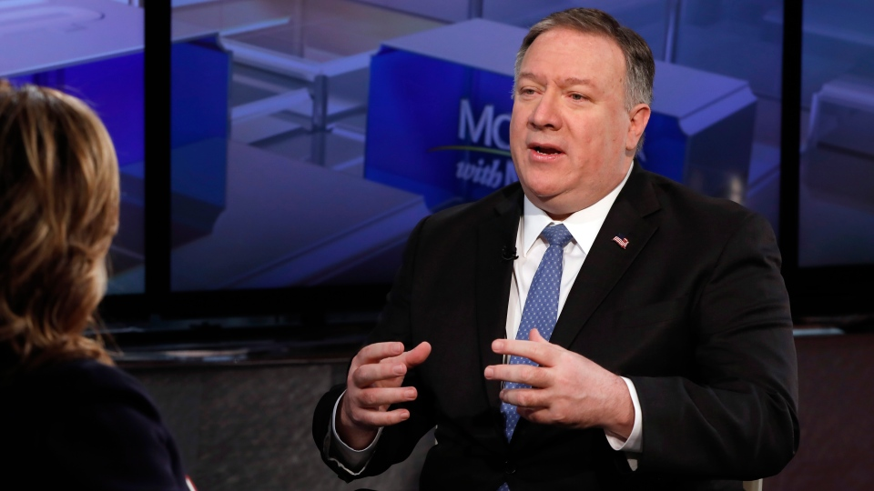 """U.S. Secretary of State Mike Pompeo is interviewed by Maria Bartiromo during her """"Mornings with Maria Bartiromo"""" program on the Fox Business Network, in New York Thursday, Feb. 21, 2019. (AP Photo/Richard Drew)"""