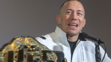 Georges St-Pierre, a two-division UFC champion announces his retirement from the sport Thursday, February 21, 2019 in Montreal.THE CANADIAN PRESS/Ryan Remiorz