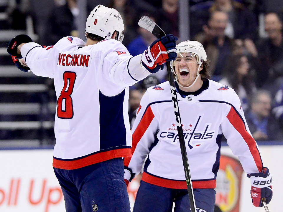 5632b800c65 Washington Capitals left wing Alex Ovechkin (8) celebrates his goal with  teammate T.J. Oshie (77) during second period NHL hockey action against the  Toronto ...