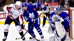 Washington Capitals centre Nicklas Backstrom (19) looks for the rebounding puck off Toronto Maple Leafs goaltender Frederik Andersen (31) as Leafs' Nikita Zaitsev (22) defends during third period NHL hockey action in Toronto on Thursday, Feb. 21, 2019. THE CANADIAN PRESS/Frank Gunn