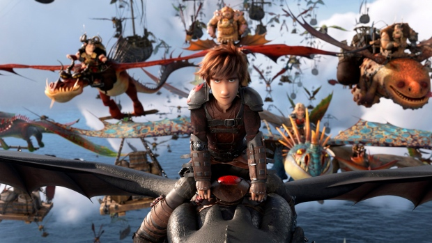 """This image released by Universal Pictures shows the character Hiccup, voiced by Jay Baruchel, in a scene from DreamWorks Animation's """"How to Train Your Dragon: The Hidden World."""" (DreamWorks Animation/Universal Pictures via AP)"""