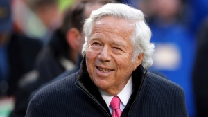 In this Jan. 20, 2019, file photo, New England Patriots owner Robert Kraft walks on the field before the AFC Championship NFL football game between the Kansas City Chiefs and the New England Patriots, in Kansas City, Mo. (AP Photo/Charlie Neibergall, File)