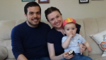 """Zamir Khan's son, Sebastian (right), was only six weeks old when he required special security clearance because he was on a """"no-fly list."""""""