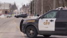 OPP 'contain' a home, shutting down Main Street in Listowel, Ont. on Friday, Feb. 22, 2019. (Scott Miller / CTV London)