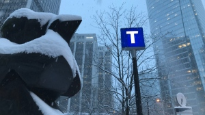 Burrard Station is seen on a snowy day in February 2019. (Kendra Mangione / CTV Vancouver)