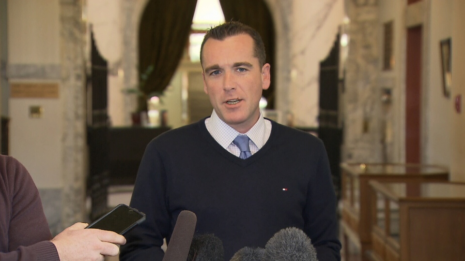 The B.C. Speaker's chief of staff, Alan Mullen, speaks to reporters in Victoria on Feb. 22, 2019.
