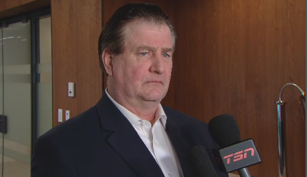 Vancouver Canucks General Manager Jim Benning talks to reporters on Feb. 22, 2019, days before the NHL trade deadline.