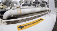 Pipes are shown at the Kinder Morgan Trans Mountain facility in Edmonton, Thursday, April 6, 2017. (THE CANADIAN PRESS / Jonathan Hayward)