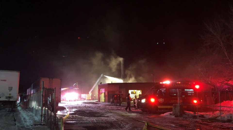 Fire officials responded to the fire around 8:30 p.m. on Dolph Street North in Cambridge.