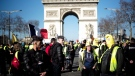 Yellow vest protesters gather at the Arc de Triomphe in Paris, France, Saturday, Feb. 23, 2019. (AP Photo/Kamil Zihnioglu)