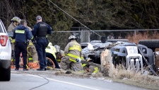 Emergency crews responded to a serious rollover on Old Dewdney Trunk Road and McKenchnie Road.