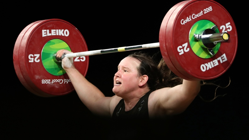 In this Monday, April 9, 2018 file photo, New Zealand's Laurel Hubbard participates in the women's +90kg weightlifting final the 2018 Commonwealth Games on the Gold Coast, Australia. (AP Photo/Mark Schiefelbein)