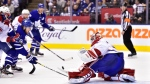 Montreal Canadiens goaltender Carey Price (31) comes out the net to make a save as Toronto Maple Leafs right wing William Nylander (29) skates in during second period NHL hockey action in Toronto on Saturday, Feb. 23, 2019. THE CANADIAN PRESS/Frank Gunn