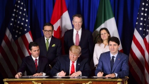 Prime Minister Justin Trudeau, right to left, Foreign Affairs Minister Chrystia Freeland, United States Trade Representative Robert Lighthizer, President of the United States Donald Trump, Mexico's Secretary of Economy Ildefonso Guajardo Villarreal, and President of Mexico Enrique Pena Nieto participate in a signing ceremony for the new United States-Mexico-Canada Agreement in Buenos Aires, Argentina, on Friday, Nov. 30, 2018. THE CANADIAN PRESS/Sean Kilpatrick