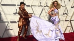 Jenifer Lewis, left, and Shangela arrive at the Oscars on Sunday, Feb. 24, 2019, at the Dolby Theatre in Los Angeles. (Photo by Jordan Strauss/Invision/AP)