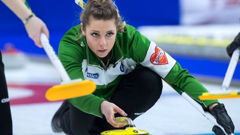 Saskatchewan skip Robyn Silvernagle relaeses a rock as they play Ontario in semifinal action at the Scotties Tournament of Hearts at Centre 200 in Sydney, N.S., on Sunday, Feb. 24, 2019. (THE CANADIAN PRESS/Andrew Vaughan)
