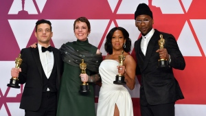Rami Malek, from left, winner of the award for best performance by an actor in a leading role for 'Bohemian Rhapsody', Olivia Colman, winner of the award for best performance by an actress in a leading role for 'The Favourite', Regina King, winner of the award for best performance by an actress in a supporting role for 'If Beale Street Could Talk', and Mahershala Ali, winner of the award for best performance by an actor in a supporting role for 'Green Book', pose in the press room at the Oscars on Sunday, Feb. 24, 2019, at the Dolby Theatre in Los Angeles. (Photo by Jordan Strauss/Invision/AP)