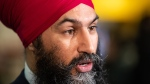 NDP Leader Jagmeet Singh responds to questions while campaigning for the federal byelection in Burnaby, B.C., on Sunday, Feb. 24, 2019. THE CANADIAN PRESS/Darryl Dyck