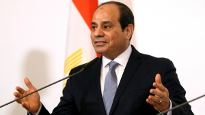 In this Dec. 17, 2018, file photo, Egyptian President Abdel-Fattah el-Sissi addresses the media during a joint press conference at the federal chancellery in Vienna, Austria. (AP Photo/Ronald Zak)
