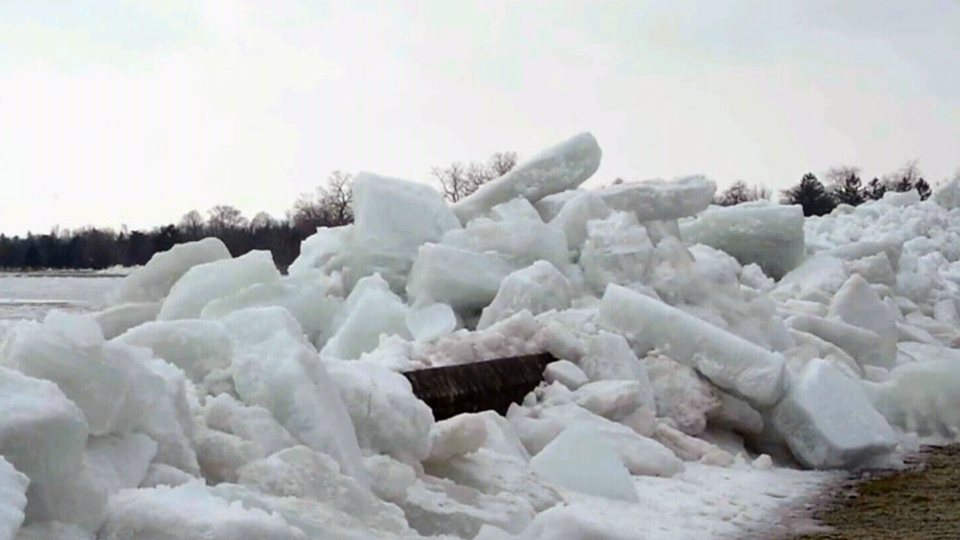 Winds force ice over retaining wall in Niagara