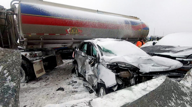 Highway 400 reopens after pileup involving 'dozens' of