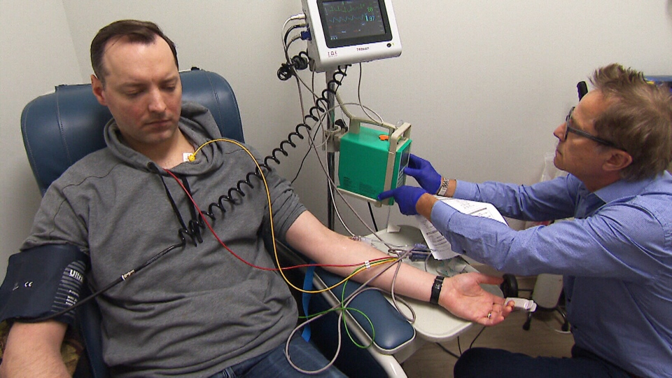 Patient James Robertson has received nine IV infusions of ketamine at the Canadian Rapid Treatment Center of Excellence clinic in Mississauga, Ont. After trying more than two dozen other medications in vain over the years, Robertson says he is finally now putting his life back together.