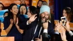 NDP leader Jagmeet Singh celebrates his Burnaby South byelection win as he arrives at his election night party in Burnaby, B.C., Monday, Feb. 25, 2019. THE CANADIAN PRESS/Jonathan Hayward