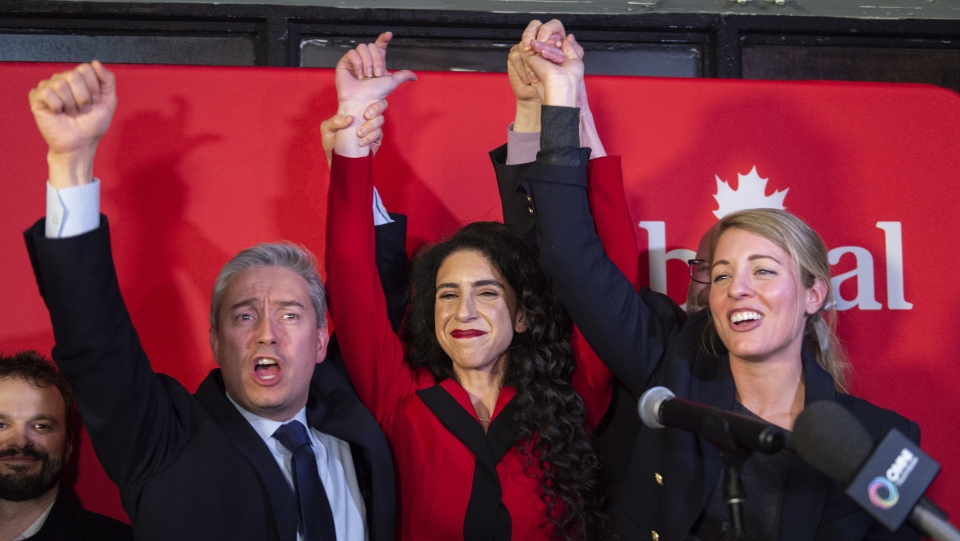 Liberal candidate Rachel Bendayan celebrate her victory in a byelection in the Montreal riding of Outremont with International Commerce Minister Francois-Philippe Champagne and Tourism Minister Melanie July on Monday, February 25, 2019. THE CANADIAN PRESS/Paul Chiasson