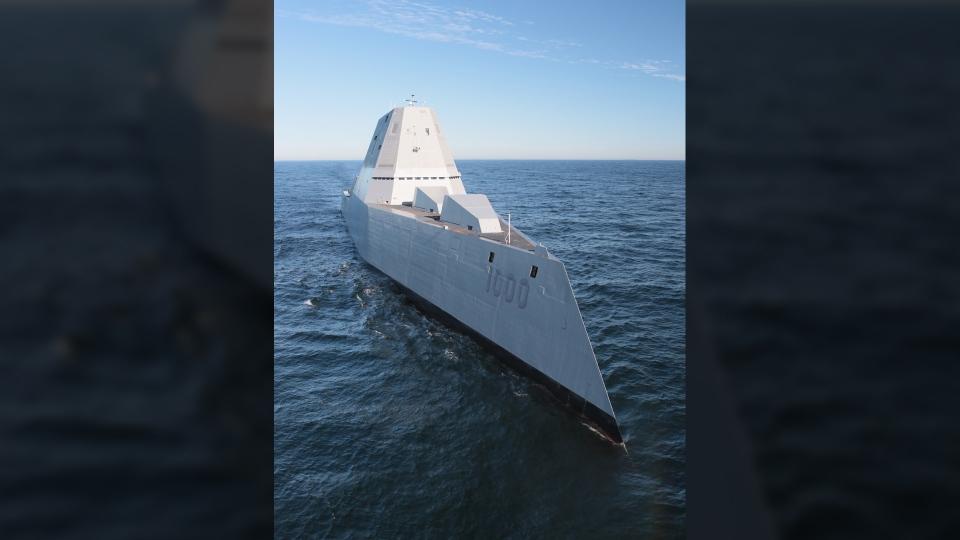 The USS Zumwalt destroyer heads to its home port in San Diego. (U.S. Navy)