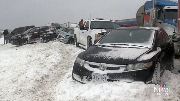 Whiteout conditions in Ontario cause 2 pileups involving nearly 100