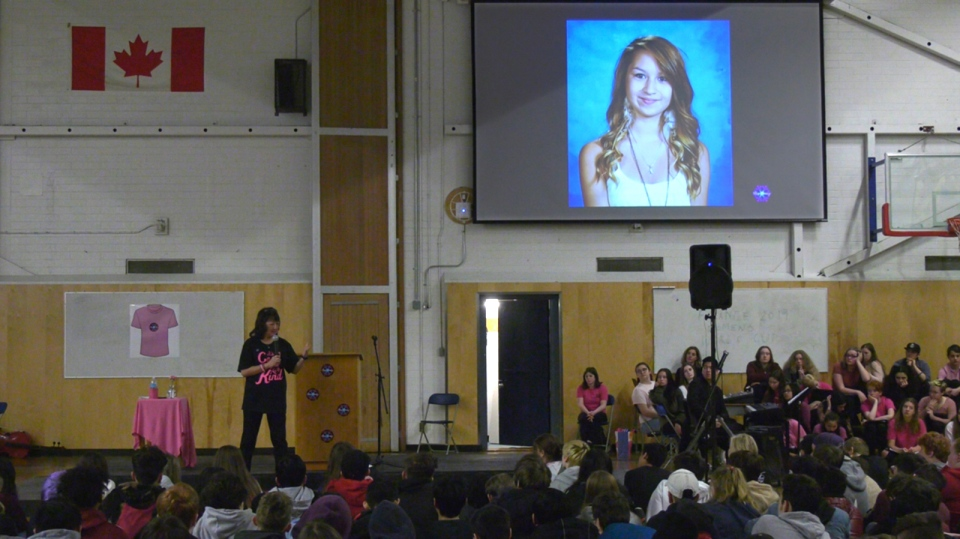 Amanda Todd's mother addresses Saanich students before Pink Shirt Day: Feb. 26, 2019 (CTV Vancouver Island)