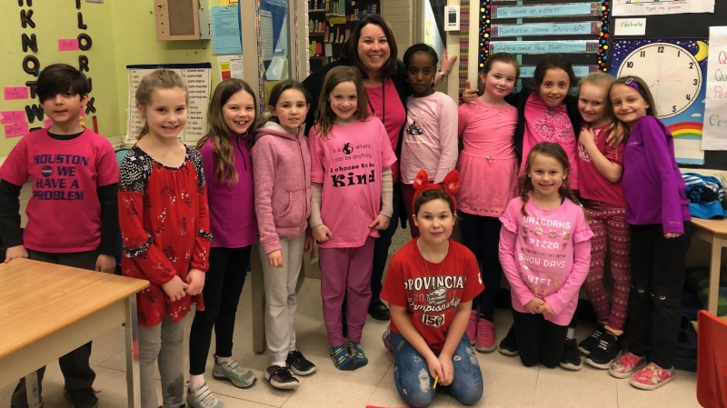 Students at Kensal Park Public School show off their 'pink' on Pink Shirt Day in London, Ont. on Wednesday, Feb. 27, 2019. (@KensalParkFI / Twitter)