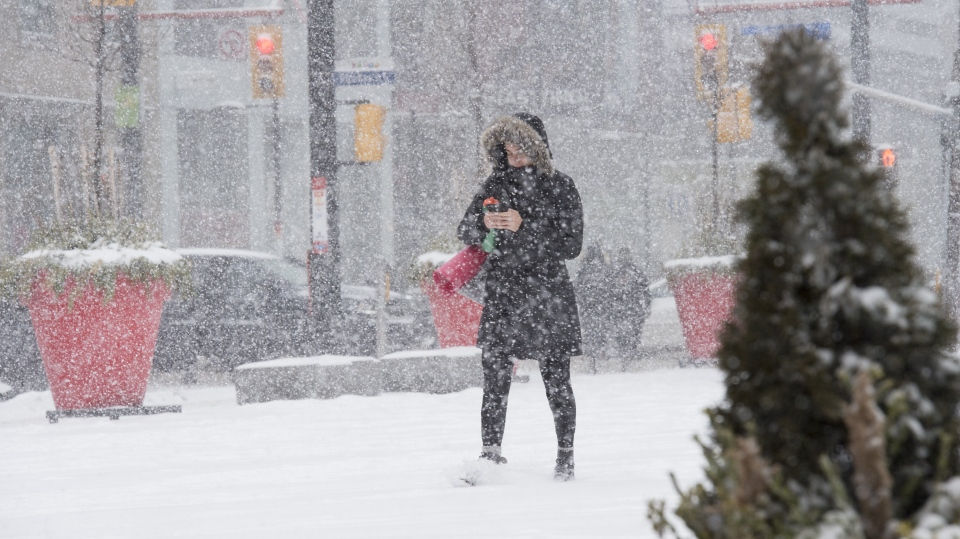 A woman makes way through a winter storm in downtown Toronto on Wednesday February 27, 2019. (THE CANADIAN PRESS/Frank Gunn)
