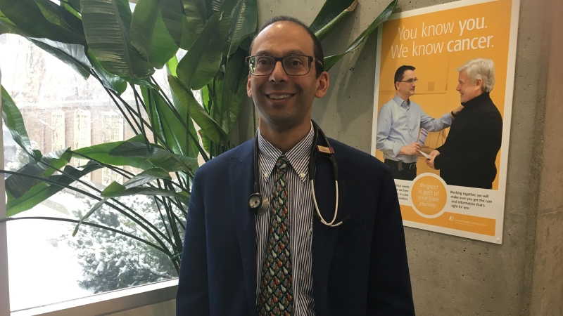 Dr. David D'Souza, lead researcher at Lawson Research Institute in London, Ont. speaks on Wednesday, Feb. 27, 2019. (Brent Lale / CTV London)