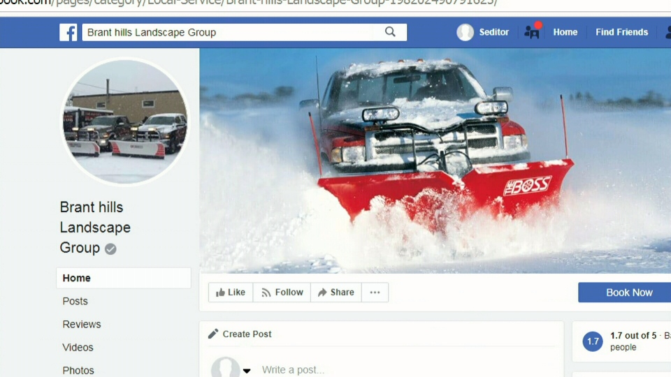 The Facebook page of Brant Hills Landscape Group and Snow Removal of Burlington.