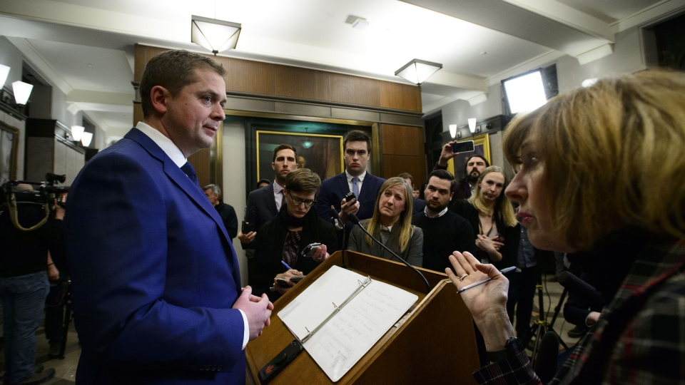 Conservative Leader Andrew Scheer holds a press conference in reaction to Jody Wilson-Raybould's appearance at the House of Commons Justice Committee on Parliament Hill in Ottawa on Wednesday, Feb. 27, 2019. THE CANADIAN PRESS/Sean Kilpatrick