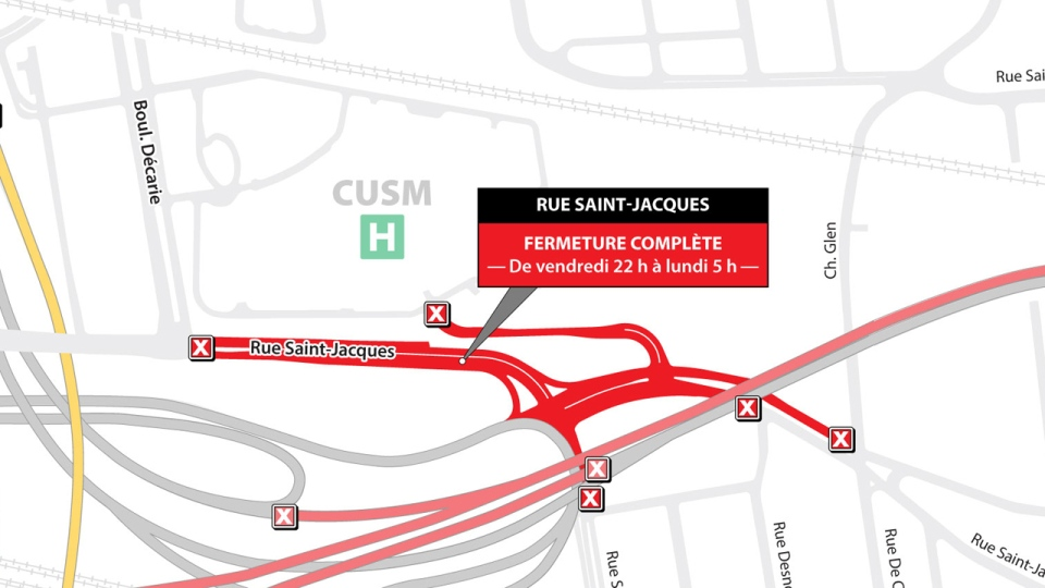 Part of St. Jacques St. will be closed this weekend