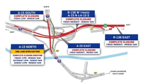 Work on the Turcot will require the closures of large sections of Highway 20 and Highway 15 the weekend of March 1, 2019